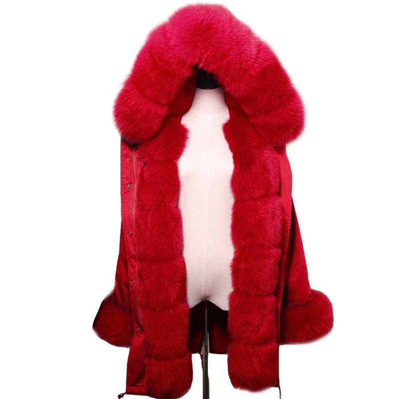 2018 Nouvelles femmes De Mode de rouge manteau Grandes renard fourrure naturelle longues à capuche parkas outwear épais doublé de fourrure d'hiver veste chaude chaude