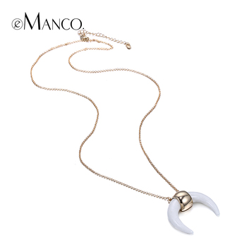 fe3adfc71e88 EManco dos colores colgante media luna collar vintage blanco marfil oro  color cadena gargantilla collares para mujeres collier femme