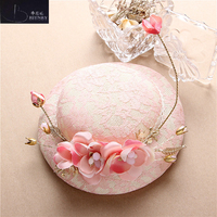 New Arrival Vintage Wedding Hat Pink Lace Flowers Party Women Headdress Beautiful Bridal Hats