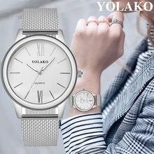 0d5b1b509 (سفينة من US) YOLAKO الفاخرة أعلى العلامة التجارية الأزياء الفضة ساعة  كوارتز الرجال النساء شبكة الفولاذ المقاوم للصدأ مربط الساعة عارضة ساعة ا.