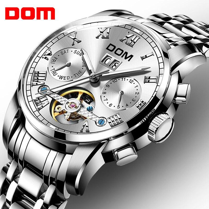 DOM squelette Tourbillon montre mécanique hommes automatique classique argent affaires étanche montre bracelet Relogio Masculino M75D-7M