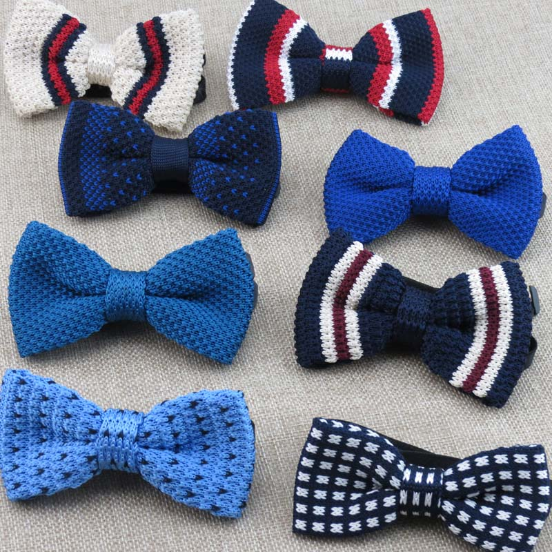 Black Knit Tiepolyesterwhite Stripe Shape Design Retro Style