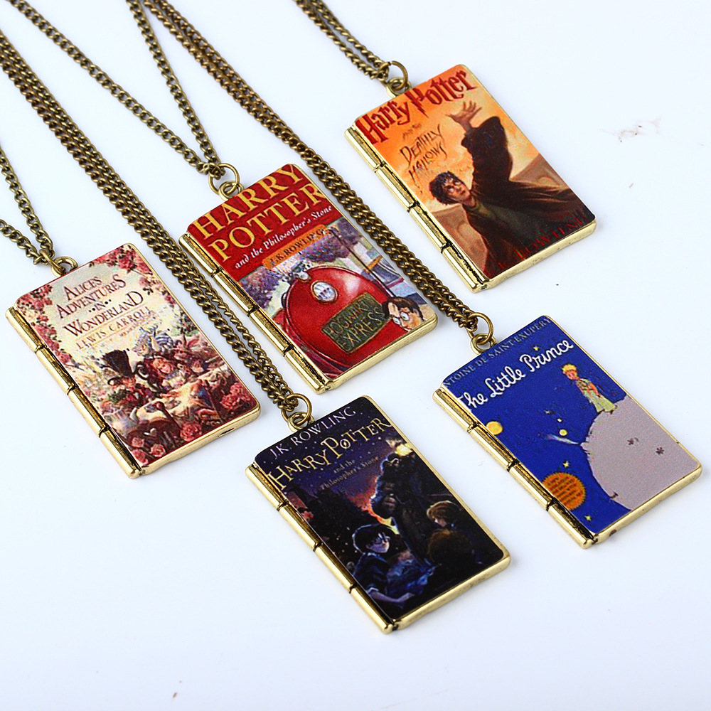 Vintage Hot Movie Harry Potter Magic Book Series Pendant Necklace Hogwarts School Square Necklace for Children Tiestyle Gift