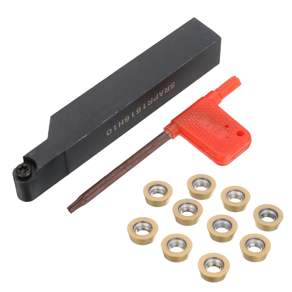 Image 2 - 1pc Practical SRAPR1616H10 Turning Tool Boring Bar Holder Face Milling External Lathe Blade Holder + 10pcs RPMT10T3MO Insertsboring bar holderlathe bladeboring bar -