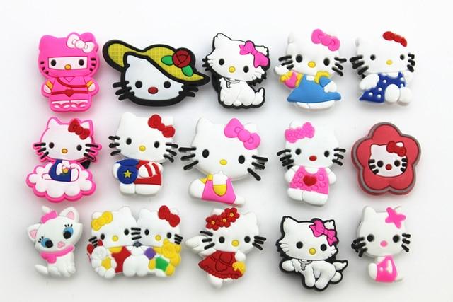 74661af9335c2 15 Pcs PVC Kitty Shoe accessories Shoe Charms Shoe Decorations for Croc  Bracelet Wristband Kid Gift