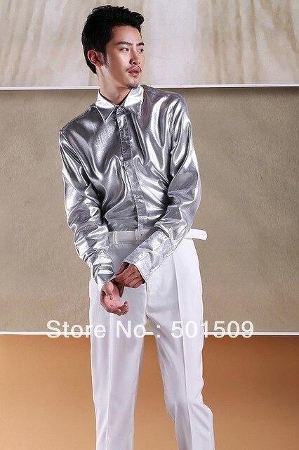 Бесплатная доставка серебро/goden простые мужские смокинг рубашки партия/событие рубашки танец рубашки производительности