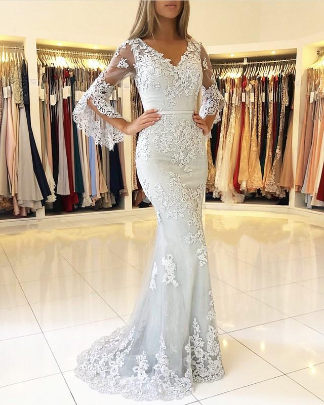 2019 New Silver Lace Mermaid Long Prom Dress With Sleeves V Neck Buttons Back Short Train Women Formal Evening Party Dress