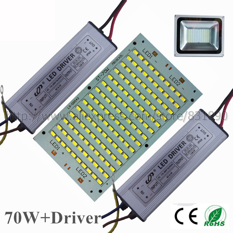 2set LED pcb+Driver AC220V floodlight pcb plate 70W 7700lm SMD5730 Light Source for Outdoor LED Landscape Light Street light DIY