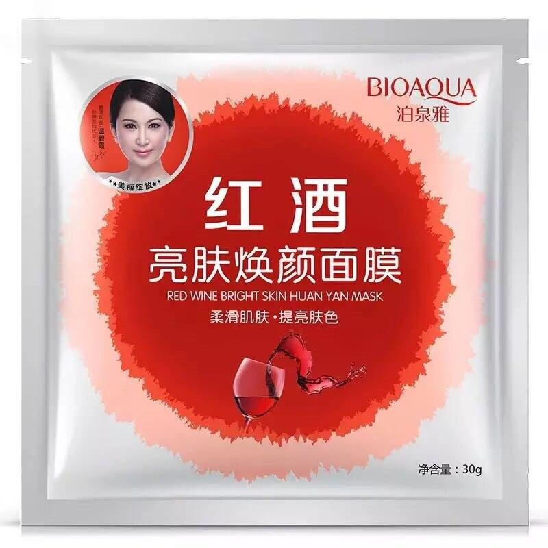 BIOAQUA Red Wine Brightening Facial Mask Moisturizing Face Mask Anti-aging Anti Wrinkle Whitening Mask Skin Care