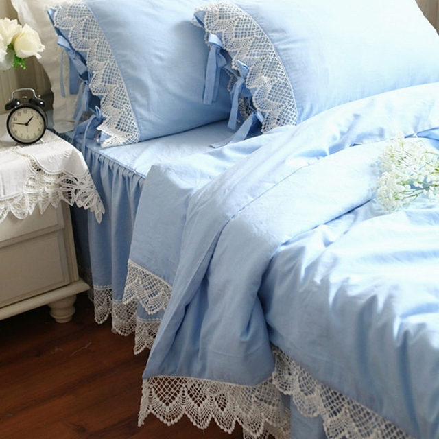 European Style Bedding Set Crochet Lace Duvet Cover Cotton Embroidered Bed Sheet Bedspread Princess