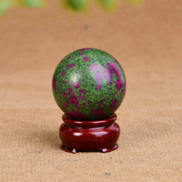1PC Luck Natural Red Green Treasure Quartz Crystal Sphere Ball Stone Healing Gemstone Home Office Decor Crafts Gift