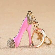 High Heel Shoes Keychains Fashion Crystal Key Holder Rhinestone Car Key Rings Silver Plated Women Bag