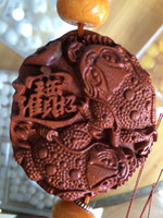 TNUKK Chinese annatto carved sculpture -The statue of the fish car home accessories gifts feng shui hang up.