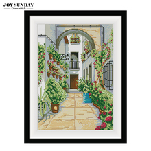 The Doorway Scenery Paintings Counted Cross Stitch Kit Factory Price 14CT 11CT DMC Ptinted Canvas Embroidery Needlework Sets
