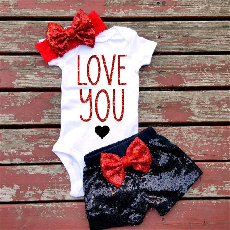Newborn Baby Girls Clothes Sets Little Mermaid Sequins Bow 1st Baby Birthday Romper+Shorts+Headband Baby Girl 1 Year Outfit Set 2017 sequins mermaid newborn baby girl summer tutu skirted romper bodysuit jumpsuit headband 2pcs outfits kids clothing set