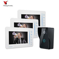 Yobang Security 3 Apartment video door bell front door intercom door phone and CMOS camera system with 7 inch handheld monitors