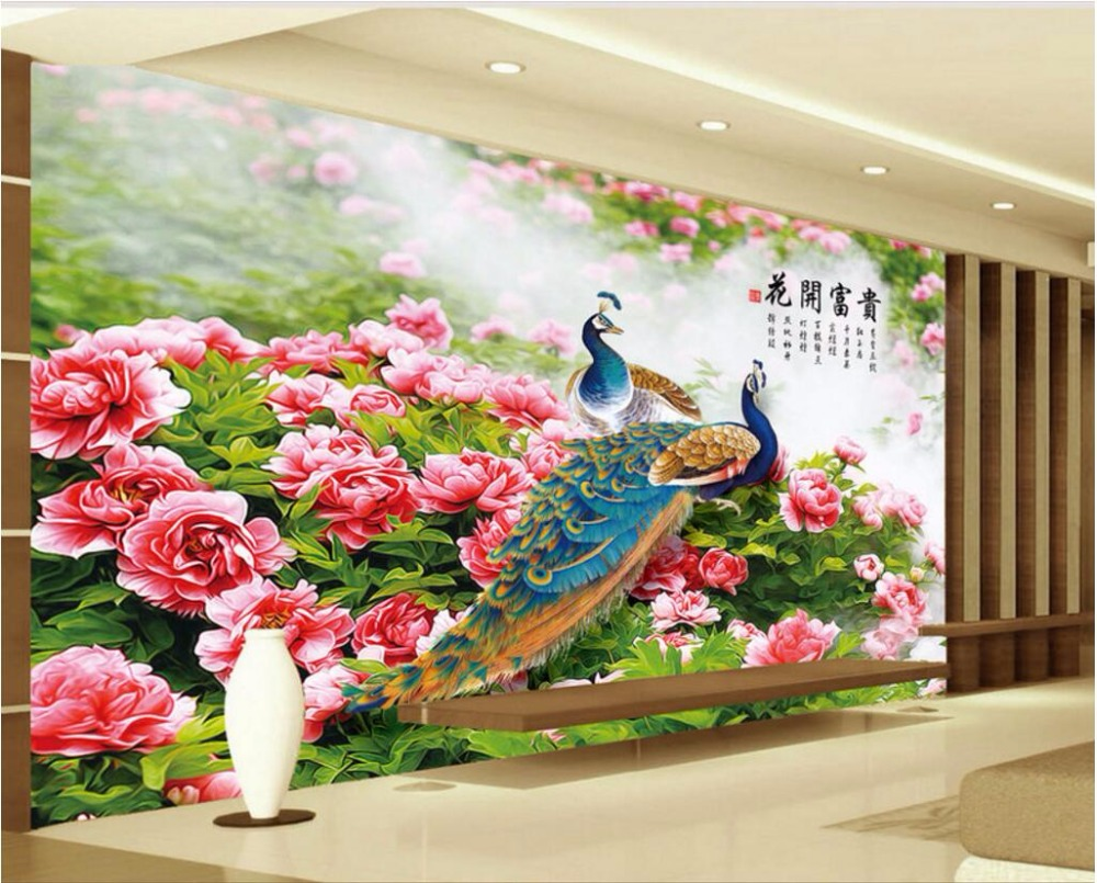 Custom mural 3d wallpaper chinese style flowers bloom for Custom mural painting
