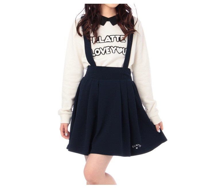 4df144be9b1f7 Japanese College Lady Vintage Suspenders Skirt All Match Candy Color Knee  length Pleated Cotton Strap Skirt For School Girl Navy-in Skirts from ...