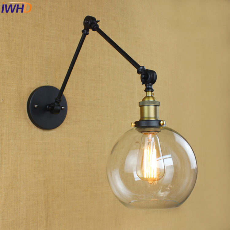 IWHD Industrial Loft Style Wall Lamp Black Vintage Reteo Glass Iron Sconce Wall Lights For Home Lighting Fixtures Wandlamp LED america rope vintage wall lights fixtures in style loft industrial wall lamp edison wall sconce wandlamp lamparas aplik