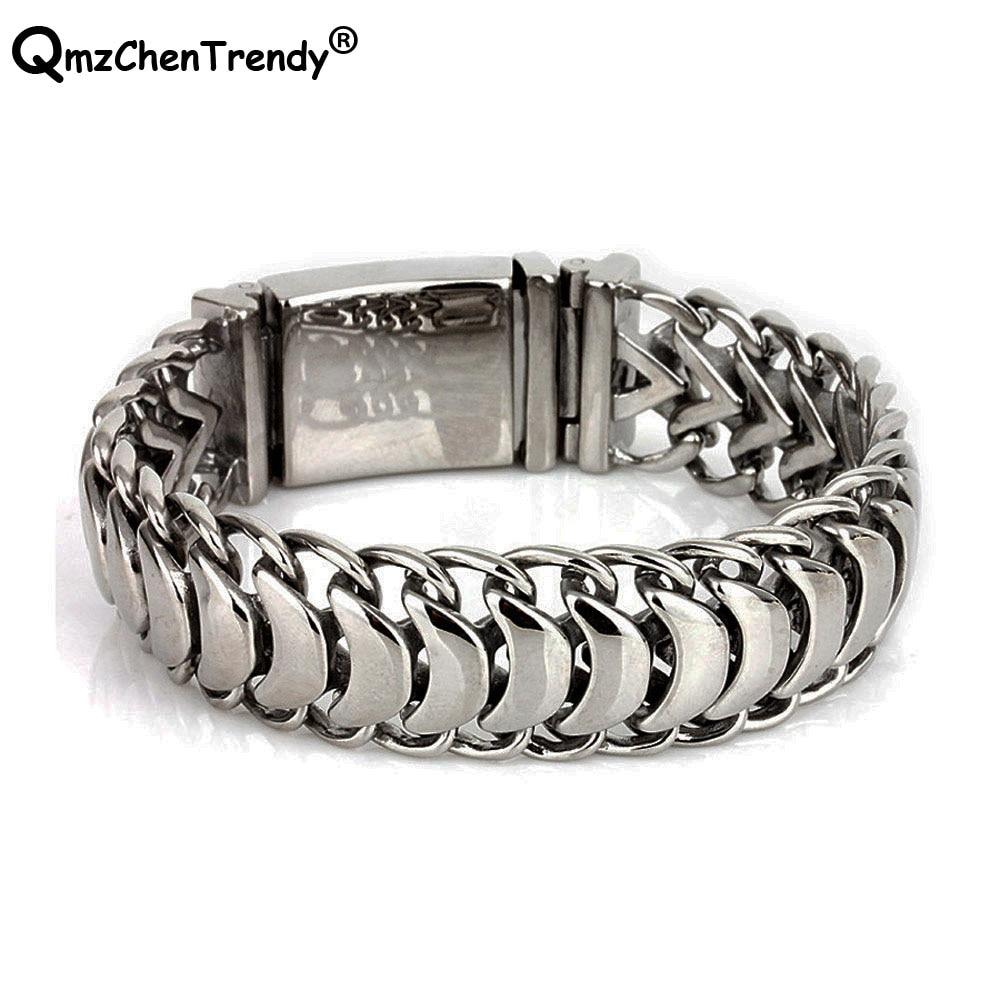 1.9cm Wide 316L Stainless Steel Pulseras Hip Hop Jewelry Mens Keel Chain Bracelets Bangle Men Fashion Punk Link Brace lace