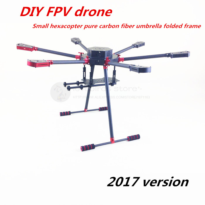DIY FPV Aerial drones Aluminum umbrella folding small hexacopter pure carbon fiber frame with landing gear 2017 version diy fpv aerial quadcopter drone zd550 umbrella folding frame pure carbon fiber 20mm wing tube with landing gear