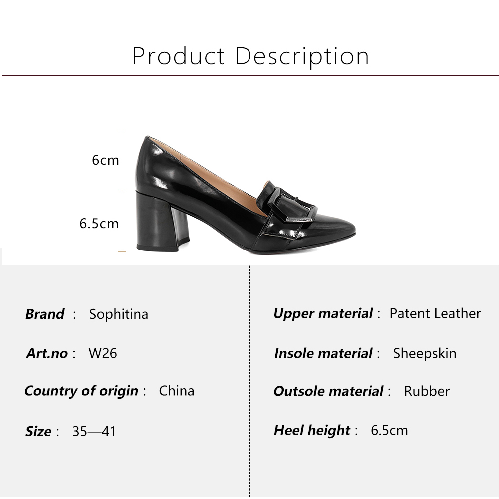 SOPHITINA 2019 Autumn Women 39 s Pumps High Square Heel Fashion Patent Leather Pointed Toe Slip On Shoes Office Sheepskin Pumps W26 in Women 39 s Pumps from Shoes