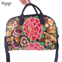 d712781fd14 Vintage Vrouwen Reistas Canvas Bloemen Borduren Handtas Grote Capaciteit  Winkelen Bakken Hand Bagage Bag Kleding Organizer