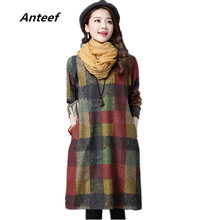5ae3fc647 Anteef algodón lana talla grande ropa vintage mujeres casual suelto midi  Otoño Invierno vestido vestidos femeninos 2018 vestidos
