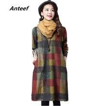 d1c12e0b60e46b Lange mouwen katoenen wollen plus size vintage vrouwen casual losse midi  herfst winter jurk elegant vestidos kleding 2019 jurken