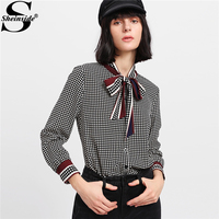 Sheinside 2018 Spring Long Sleeve Blouse Stand Collar Mixed Print Tied Neck Bow Plaid Shirt Women