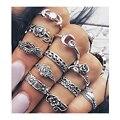 11 pçs/set 2017 Novos das Mulheres da Moda Boho Chic Flores Lua Subiu Jade Antigo Banhado A Prata Midi Anéis Conjunto de Jóias acessórios