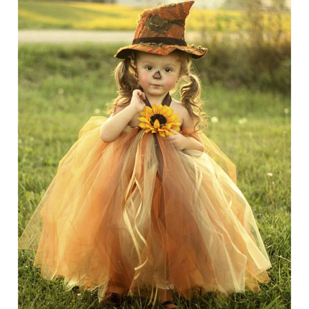 85990cf22616 Scarecrow Halloween Girl Pumpkin Tulle Tutu Dress Girls Pageant Party Trick  or Treat Tutu Dresses For