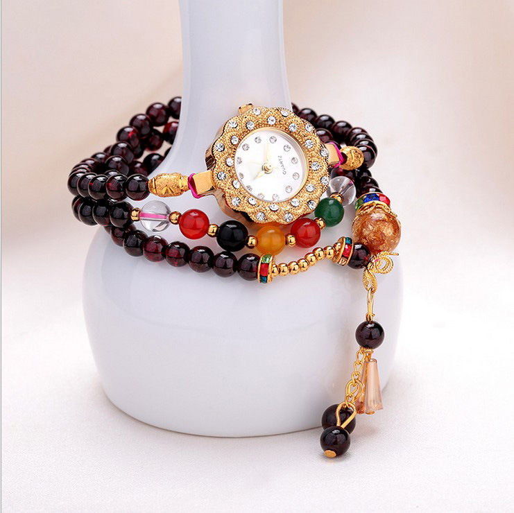 New Arrival Brand Women Natural Crystal Bracelet Watch National Style Garnet Chain Bracelet Watch Crystals Chain Bangle Watch natural rhodolite garnet wide stretch bracelet