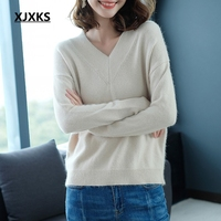 XJXKS new loose high elasticity v neck pullover sweater for women 2018 autumn winter new fashion dropped sleeve womens sweaters