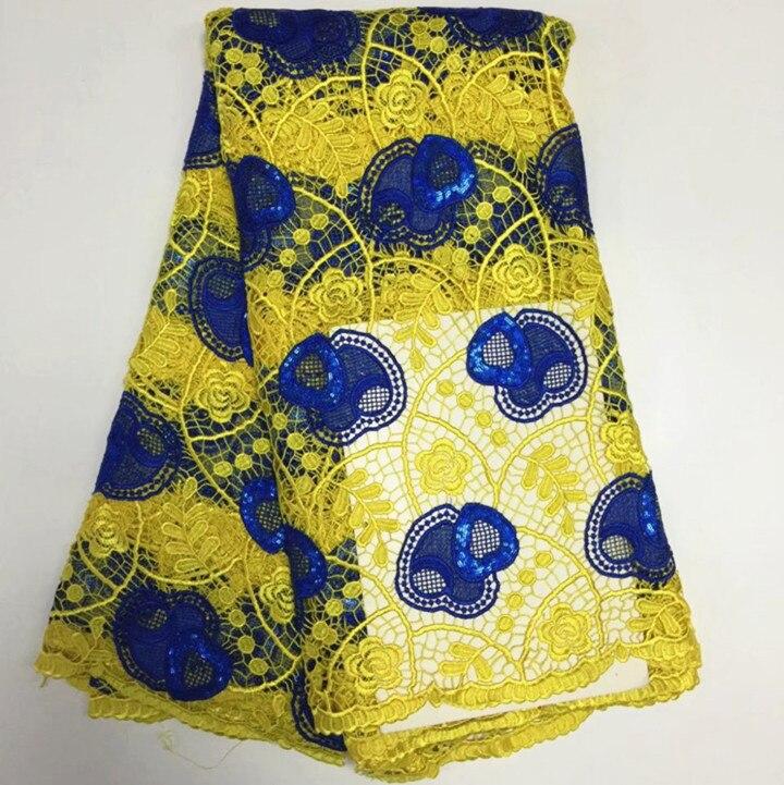 5Y/pc offre spéciale jaune africain dentelle soluble dans l'eau avec des paillettes bleues coeur pour français cordon dentelle tissu pour robe BW165-5