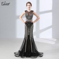 Luxury Mermaid Evening Dresses 2018 Beaded Crystal Backless Black African Women Long Formal Prom Evening Gown