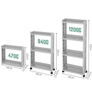 Image 5 - The Goods For Kitchen Storage Rack Fridge Side Shelf 2/3/4 Layer Removable With Wheels Bathroom Organizer Shelf Gap Holder