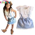 Keelorn Girls Clothing Sets 2017 New girls cute dress,white belt denim dress sleeveless cotton summer dress lovely girls clothes