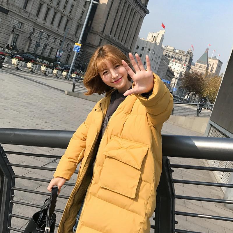 L93 Nouvelle Coréenne Chaud Capuchon black À Longue Coton Rembourré D'hiver Section Version Yellow Veste 2017 Parkas Manteau Femmes WZTq6BIB