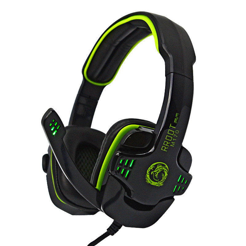 Professional Brand M170 Over-ear Game Gaming Headphone Headset Earphone Headband with Mic Stereo Super Bass LED Light for PC