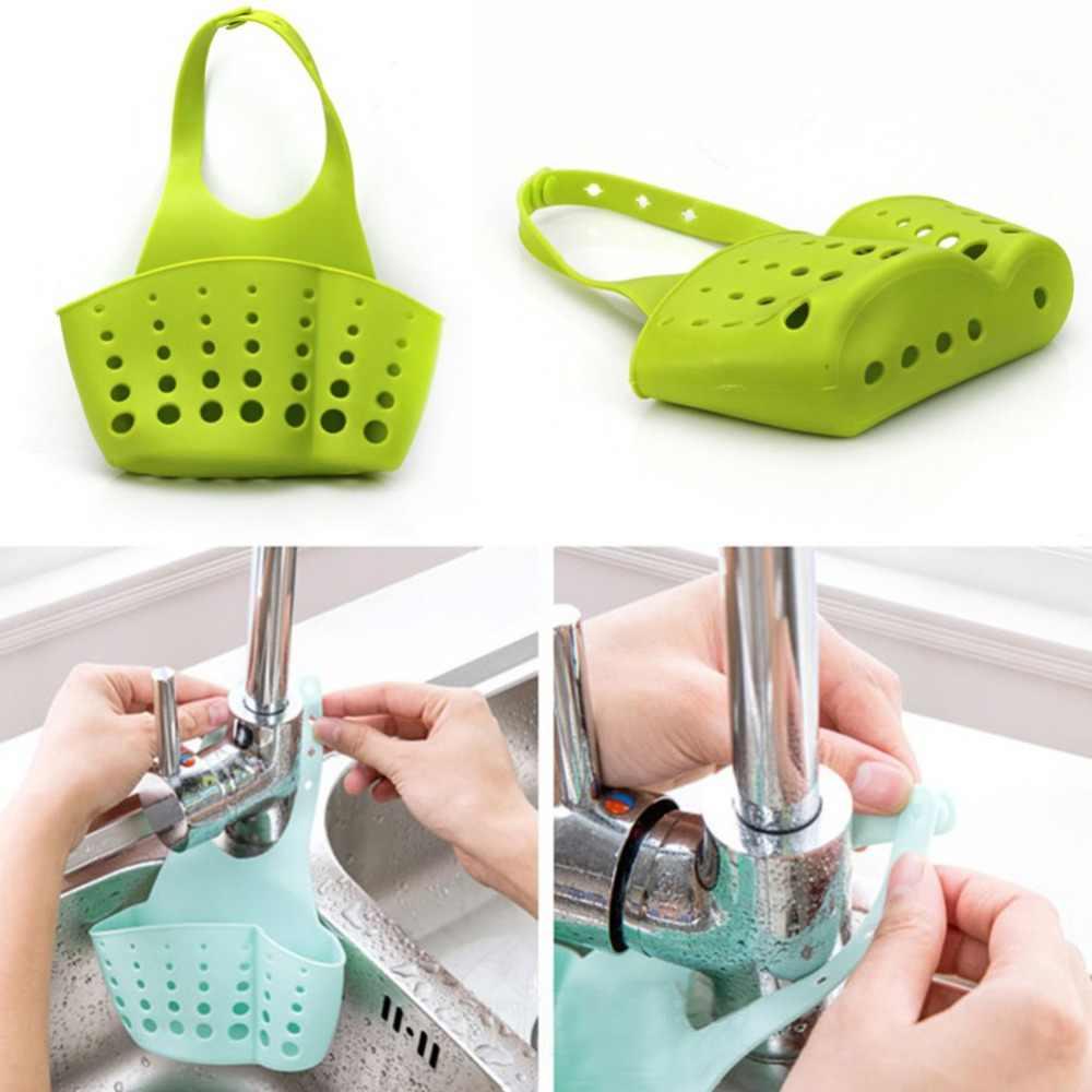 1 Uds. Estante colgante de PVC esponja para fregadero de baño, cocina, fregadero, escurreplatos, cubeta de almacenamiento, estantes, 4 colores