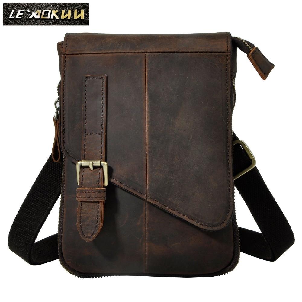 Real Leather Multifunction Men Casual Fashion Small Messenger One Shoulder Crossbody Bag Design Waist Belt Bag Phone Pack 611-6