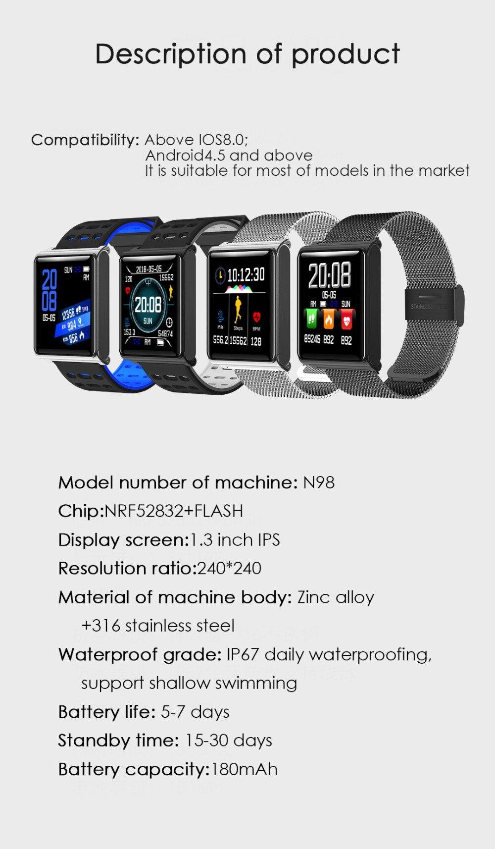 Smart Watch Bracelet N98 Color Full Screen Waterproof Fitness Tracker Clock Wristband Heart Rate Monitor Pressure For Xiaomi IOS 20
