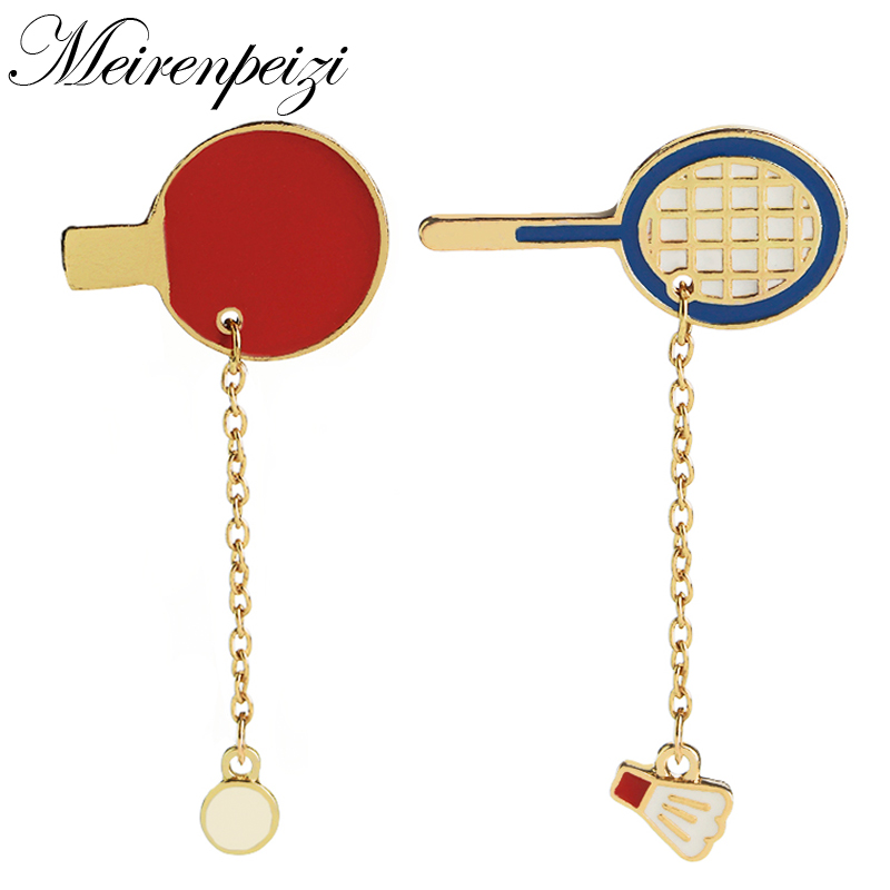 Campaign Sports Table Tennis Badminton Racket Charm Collar Badge Decorated Enamel Pins Cartoon Cute Sporty Brooches