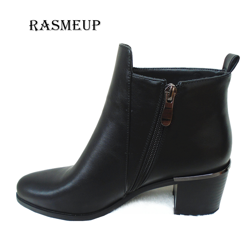 RASMEUP Women Square Heel Ankle Boots Side Zipper Bling Leather Shoes High Heels Warm Short Plush Inside Autumn Winter Boots bling pu leather women sexy boots high heels zipper shoes warm fur winter boots for women x1022 35