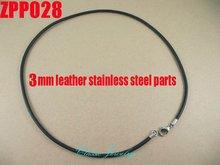 """(16 """" 38"""") 20 piezas 3mm negro cuero Real collar Acero inoxidable accesorios joyería DIY ZPP028"""