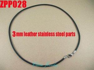 """Image 1 - (16 """" 38"""") 20 piezas 3mm negro cuero Real collar Acero inoxidable accesorios joyería DIY ZPP028"""