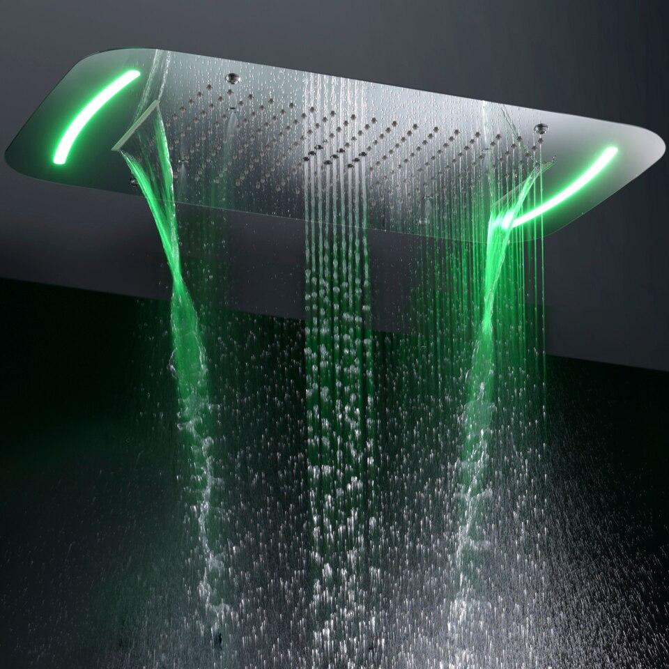 Современные Стиль большой Ванная комната Насадки для душа Touch Панель 110 В ~ 220 В переменного тока светодиодный Ванная комната Топ-набор для ду...