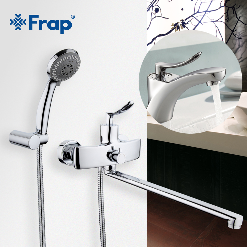 Frap New Arrival Single Handle 35cm Long Nose Outlet Brass bathtub Shower Faucet with bathroom basin faucets mixer F2281+1081 frap new bathroom combination basin faucet shower tap single handle cold and hot water mixer with slide bar torneira f2822