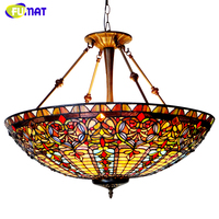 FUMAT European Style Baroque Chandelier Tiffany Country Light Classic Hotel Project Light Living Room Stained Glass Chandeliers
